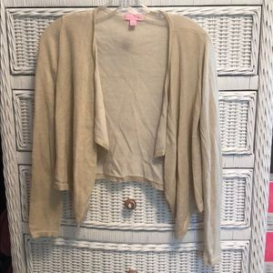 Lilly Colony Gold Metallic Front Drape Cardigan